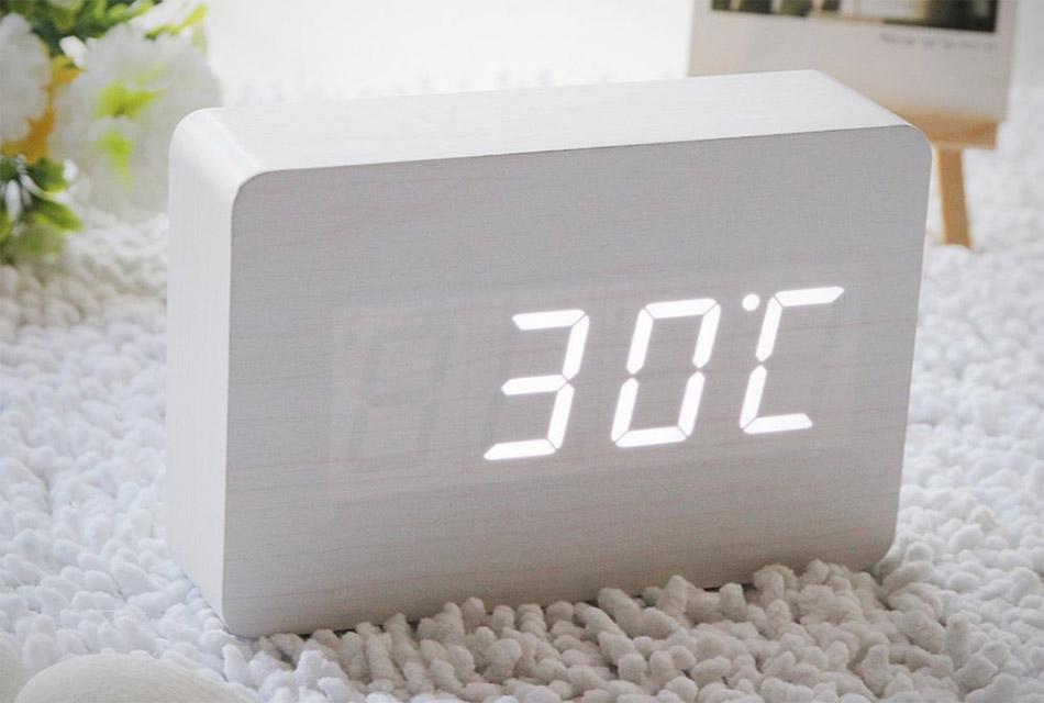 White LED Wooden Clock